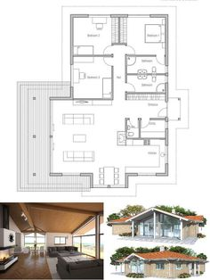 Small House Plan in Modern Architecture, Three bedrooms. Abundance of natural light, vaulted ceiling.