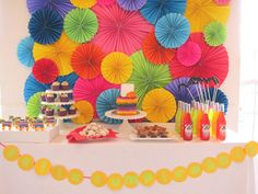 fiesta fantastico. love rosette backdrop in bold, pin tail on the pinata before taking a swing at it.