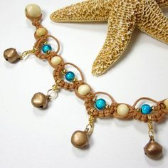 micro macreme jewelry | ... Anklet Bells, Earthy Micro Macrame Jewelry, Orange Turquoise Copper