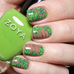 Goodbye Green Leaves, Hello Autumn - wood grain and leaf nail art featuring Zoya…