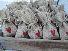 burlap wedding favor bags. by gabrielle