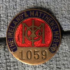 This beautiful employee badge was issued by the Ireland and Matthews Company. The company was founded in 1890 as a manufacturer of saddles and other leather goods. Eventually they shifted to brass and plumbing supplies. By 1907 they were producing automobile trim in brass and chrome. The factory on Wright Street near the Detroit River has been converted to lofts. #badge #employeebadge #detroithistory #autosuppliers
