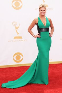 Emmy Awards 2013: Red Carpet Arrival Photos Nancy O'Dell in a close fitting, V-neck dress.