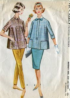 FREE US SHIP Vintage Retro 1960's 60's McCall's 5609 Jackie Maternity Blouse Stove Pipe Pants Skirt Cut Bust 31 Sewing Pattern by LanetzLivingPatterns on Etsy