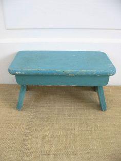 Vintage Wood Stool Aqua Blue Bench Primitive, $42.00