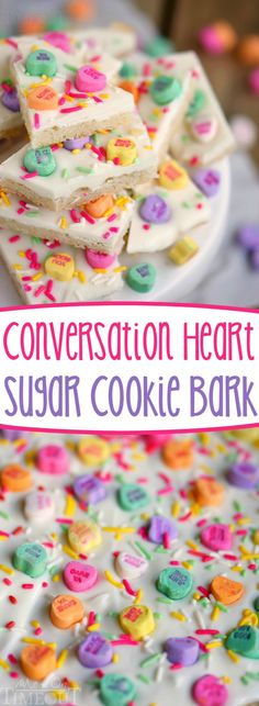 Food and Drink. This easy conversation heart sugar cookie bark uses just FOUR ingredients in 30 minutes! Perfect for classroom and office parties!