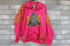90s floral baroque royalty lion silk bomber