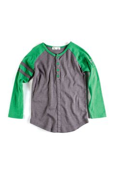 Appaman Baseball Henley in Vintage Black and Green