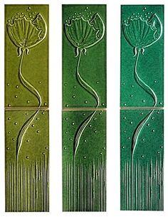 Käsintehtyjä art nouveau -keramiikkalaattoja, myös muita värejä, 70 e / laattapari, Hattulan Kaakelitehdas.
