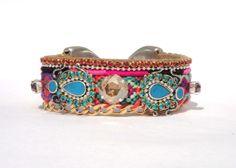 Medium wide tribal style friendship bracelet cuff by OOAKjewelz, €129.95