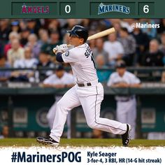 Kyle Seager continues to rake as #Mariners take down the #Angels 6-0. 4/25/13