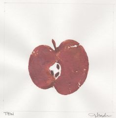 """DAY 10-1/10/13) Maine Macintosh Apple.... """"We cut one in half in a way to make sure it was as """"lopsided"""" as possible and then I coated the cut side with paint.  It took a few prints to find out the right amount of paint to use but I got a good one!  Then I took some beautiful copper, red, and bronze metallic paints and embellished."""" ~Jenna   #SpondyApple #Repin"""