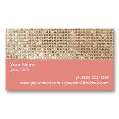 Gold Sequins  Peach Business Card