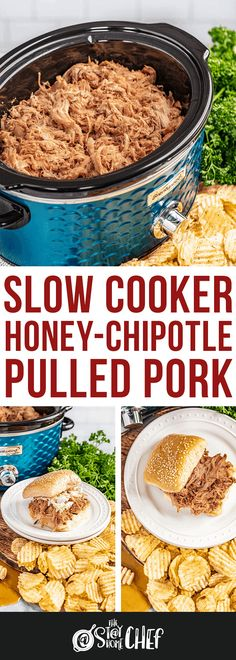 Slow Cooker Honey-Chipotle Pulled Pork is sweet and savory with just a touch of heat from the chipotle peppers. The pork cooks low and slow for juicy, tender meat the entire family will love! Supper Recipes, Chef Recipes, Meat Recipes, Cooking Recipes, Healthy Recipes, Slow Cooker Pork, Slow Cooker Recipes, Crockpot Ideas