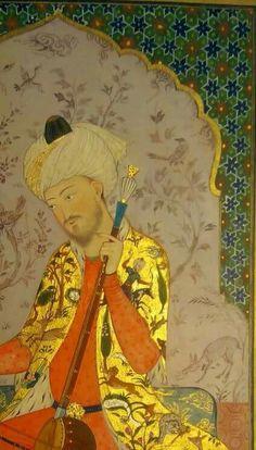 Mughal Paintings, Islamic Paintings, Indian Paintings, Indian Musical Instruments, Empire Ottoman, Illumination Art, Gold Leaf Art, Iranian Art, Historical Art