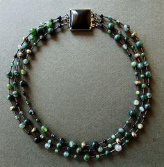 Necklace Moss Agate, Pyrite, Black Onix Clasp. Collar Ágata musgo, Pirita, cierre plata con Ónix negro. joanaloring@gmail.com
