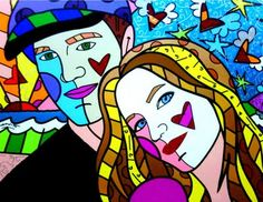 tom brady and Gisele by romero britto