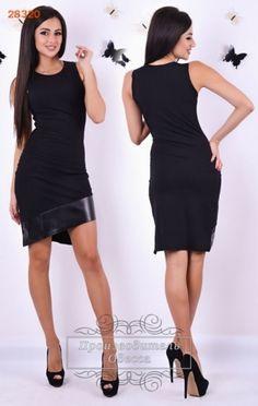 Трикотажное женское платье ассиметрия с кожаной отдекой черное без рукавов