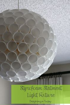 DIY a statement light fixture with styrofoam cups || Delighting in Today