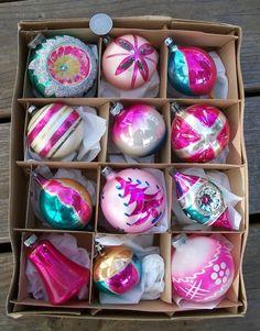 12 Vtg Glass Christmas PINK ORNAMENTS w Indents Teardrops Tree Stripes Etc Lot