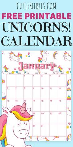 Cute unicorns calendar for 2019 FREE printable! With blank calendar template. Free 2019 calendar with unicorns for kids. #freeprintable #unicorns #cutefreebies