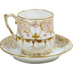 Limoges Demitasse Tea Cup Hand Painted Pink Roses 3 oz Floral Trefoil Rim