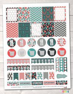 Teal Orange Red Printable Planner Stickers Weekly Kit