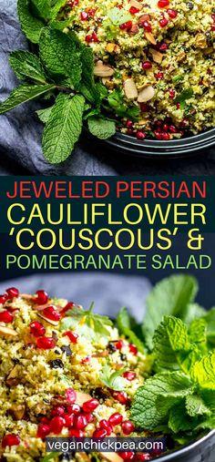 Jeweled Persian Cauliflower & Pomegranate Salad – Vegan Salad Recipes – Site Name Vegan Indian Recipes, Vegetarian Salad Recipes, Healthy Salads, Vegan Recipes, Easy Recipes, Vegan Meals, Amazing Recipes, Summer Recipes, Free Recipes