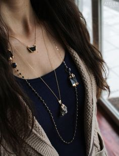 ATELIER GABY MARCOS Jewelry - Layering Necklaces featuring black drusy, black tourmaline & pyrite #ateliergabymarcos