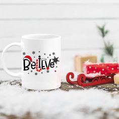 Believe in the magic of Christmas, Holiday Santa Christmas coffee mug, holiday decor gifts, Christmas gift for moms, birthday gifts Christmas Coffee, Christmas Gifts For Mom, Santa Christmas, Mugs For Men, Funny Coffee Mugs, Birthday Gifts, Custom Design, Etsy Shop, Holiday Decor