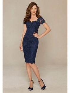 Short Navy Short Sleeves Lace Mother of The Bride Dresses 5603048