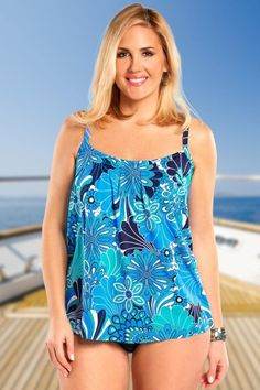 You will be looking just groovy baby in this go-go/artistic shell/floral design tankini top!