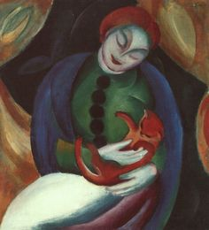 Franz Marc-Girl with Cat II(Mädchen mit Katze II)-(1912) - Franz Marc - Wikipedia, the free encyclopedia