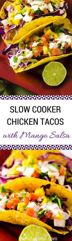 Slow Cooker Chicken Tacos with Mango Salsa are a delicious and unique twist on a classic! This is an easy weeknight recipe you will make over and over. via @wendypolisi