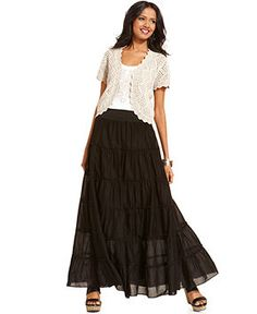 Style Open-Front Crochet Cardigan, Embroidered Tank Top & Tiered Maxi Skirt - Women - Macy's