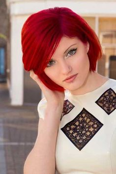 Red color for short #Short Hair| http://impressiveshorthairstylesphilip.blogspot.com