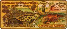 Antigua publicidad de la langosta al natural de las fábricas de conservas de pescado de M. DE GARA VILLA E HIJO, con sede en Lequeitio (País Vasco) y Luanco (Asturias).
