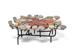 Various common and semi-precious stones are split in half to reveal the beautiful compositions inside. They are mounted on a steel armature unique to each piece. Dining Table Design, Modern Dining Table, Furniture Inspiration, Interior Design Inspiration, Furniture Ideas, Oval Table, Small Tables, Luxury Interior Design, Modern Room