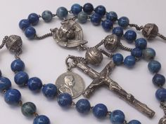 GORGEOUS FRENCH ANTIQUE STERLING SILVER & BLUE JASPER ROSARY ANGELS 19th C.