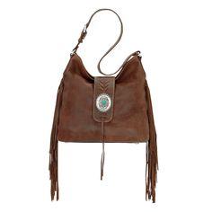 American West Seminole Soft Slouch Shoulder Bag at Lufli Boutique! Genuine leather hobo shoulder bag with fringe and an adjustable strap. Tons of pockets inside to keep you organized.