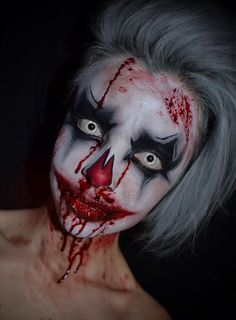 collection of Halloween Makeup Ideas Halloween Makeup Clown, Circus Makeup, Creepy Halloween Makeup, Halloween Circus, Creepy Makeup, Horror Makeup, Maquillaje Halloween, Halloween Looks, Scary Clown Costume