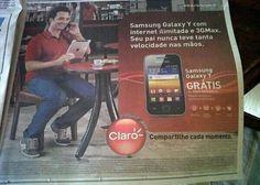 Enorme error publicitario de la operadora brasileña Claro (regalan un Samsung Galaxy y el chico esta con su iPad)