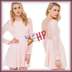 "HP Twisted lace open back skater dress ➖SIZE: small (see measurements) ➖BRAND: AKIRA Black Label ➖STYLE:  Twisted Lace Blush Skater Dress features a high neckline, a low V-cut back, long sleeves with banded & buttoned cuffs, a flared skirt, and an invisible back zipper closure.  ➖MEASUREMENTS    ➖SHOULDER : 14""     ➖BUST: 16""    ➖WAIST: 14""    ➖DEPTH OF BACK V: 15.5""    ➖LENGTH:33""    ➖SLEEVE: 24"" AKIRA Dresses Prom"