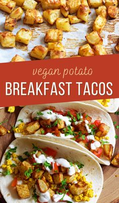 These easy vegan breakfast tacos are made with roasted potatoes and tofu scramble. Add your favorite toppings like mushrooms, vegan sour cream and cheese, and/or tomatoes!