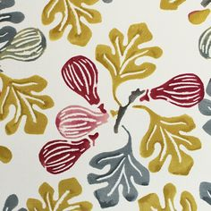 Figs Fabric A curtain fabric designed by Emma Bridgewater, inspired by her childhood family holidays in Norfolk. Printed with an array of figs with foliage in fuchsia and ochre on a cream background.
