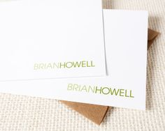 Personalized Notecard Set - Modern Two Tone Name Unisex - Set of 12 Flat Personalized Stationery / Stationary Cards - professional business