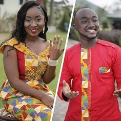 When the groom opts for red; a slight deviation from the standard white that most grooms wear for their traditional marriages. Short African Dresses, Latest African Fashion Dresses, African Print Fashion, Couples African Outfits, African Attire, African Fashion Traditional, African Shirts For Men, Kente Dress, Kente Styles