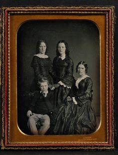 "Half Plate Daguerreotype Family Portrait, the mat impressed ""S.ROOT 363 BROADWAY N.Y."""