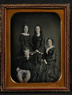 "Half Plate Daguerreotype Family Portrait, the mat impressed ""S.ROOT 363 BROADWAY N.Y."""