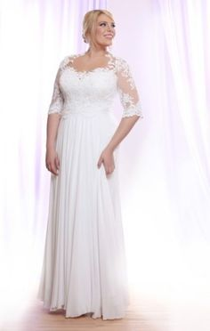 White lace plus size wedding dresses bohemian chiffon beach boho bridal gowns
